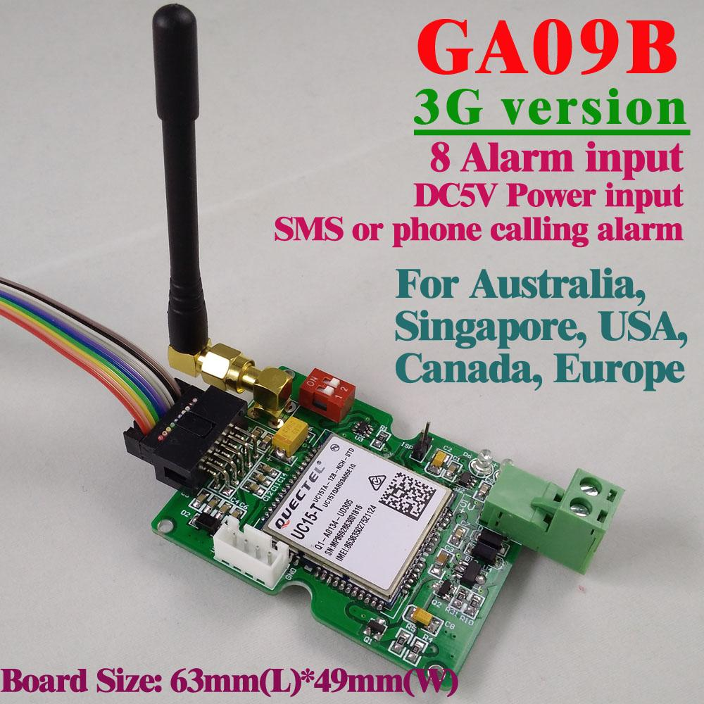 Wholesale- Free shipping 3G Version GSM Alarm board SMS Alert Wireless  alarm GA09B Home and industrial security alarm system unit
