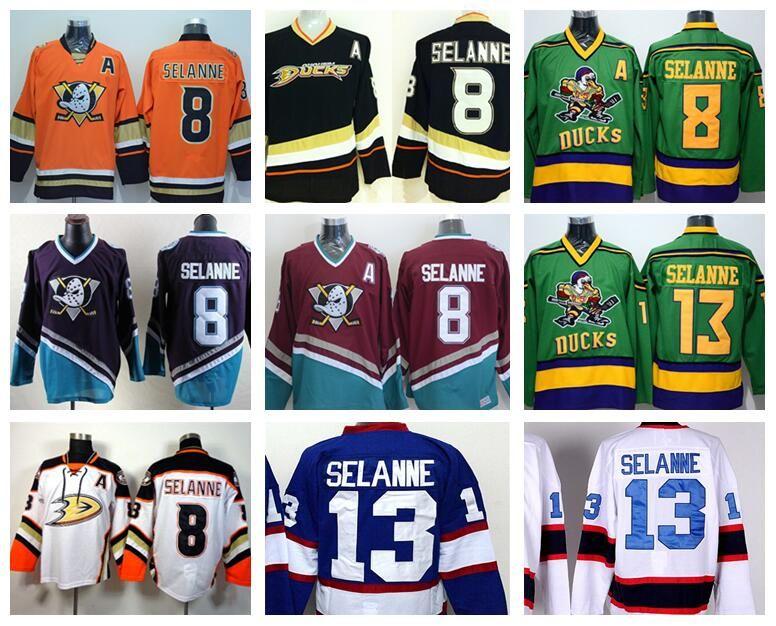 low priced 65191 1df46 Anaheim Ducks 8 Teemu Selanne Jerseys 13 Ice Hockey Stadium Series Team  Color Black White Red Green Orange Purple Breathable
