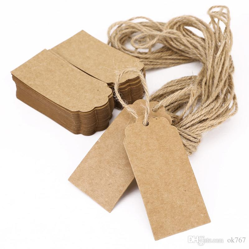 100X Brown Kraft Paper Tags Lace Scallop Head Label Luggage Wedding Note +String DIY Blank price Hang tag Kraft Gift Hang tag