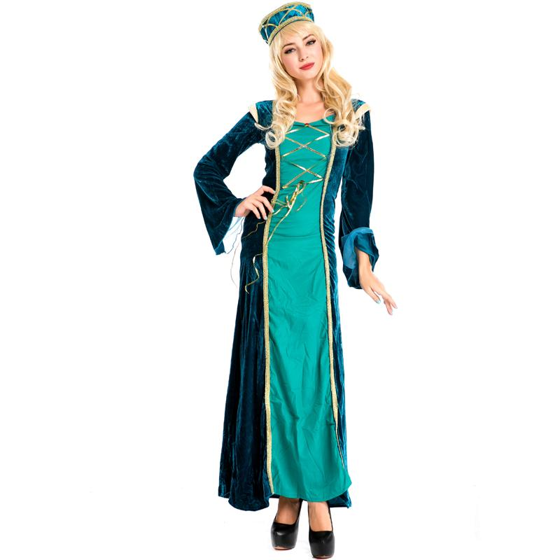 new green arabian royal princess fancy dress ladies halloween costume exotic arab retro court dress cosplay - Green Halloween Dress