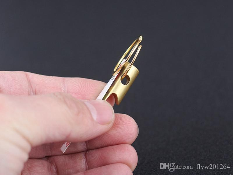 Fast shipping Newest Mini Cylinder Brass Bottle Opener EDC Beer openers With keychain keyring