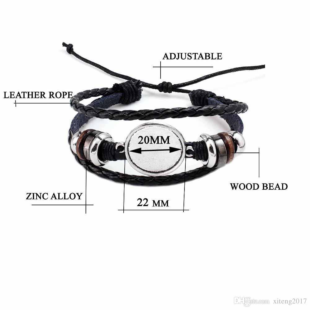 Modeschmuck DIY Multi Layer Leder Armband Armreif Blank Basis Fit 20mm Runde Foto Glas Cabochon Einstellung Lünette Fach Schmuck machen