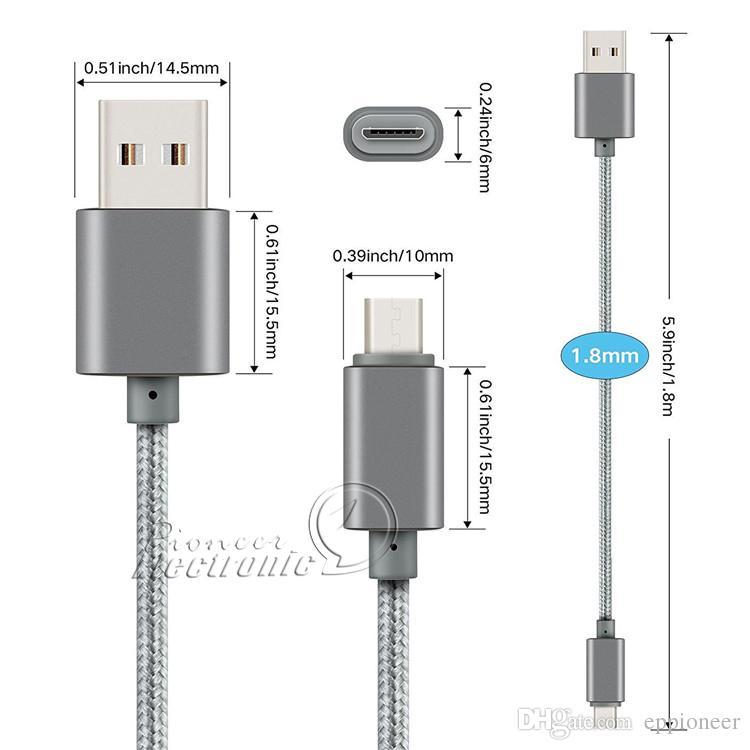 Suporte metálico cabo Micro USB 2-a de carregamento de alta velocidade durável cabo USB Tipo C com uma vida útil de 10000 curvas para o Android Smart Phone