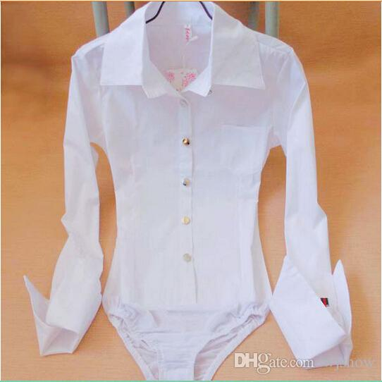 Women New Style Pocket Pointed Cuff Bodysuit Blouse Ladies Career ... 6b0043c3b