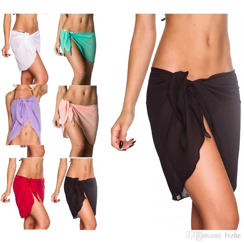 새로운 섹시한 여자 숙녀 시폰 비치 수영복 파 레오 스카프 비치 랩 최대 Sarong 스커트 6 색