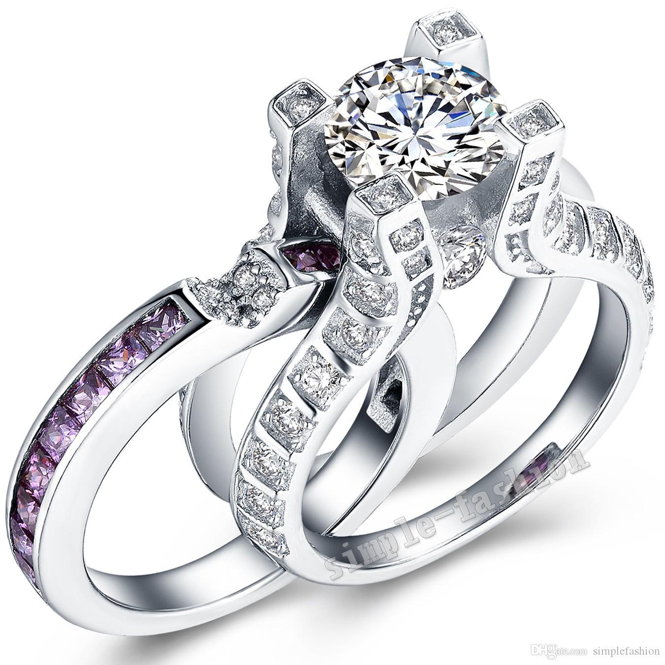 2019 Vecalon Luxury Jewelry 3ct Amethyst Cz Diamond Engagement