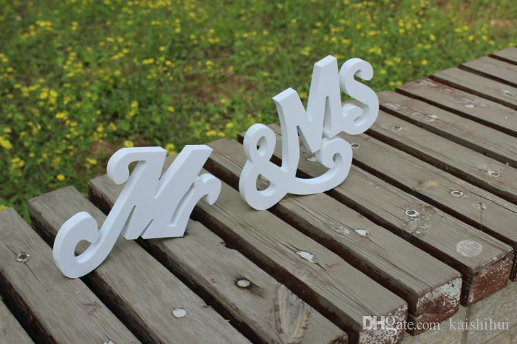 "4"" Wedding mr & mrs Sign Letter Sweetheart Table Sign Decoration Mr and Mrs wooden White wedding Letters"