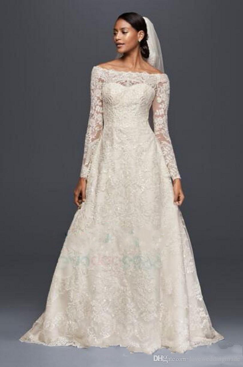 أنيقة العاج الدانتيل الكامل طويلة الأكمام أثواب الزفاف 2019 مغرفة الرقبة أوليغ كاسيني زر المغطاة فستان الزفاف زائد الحجم مخصص