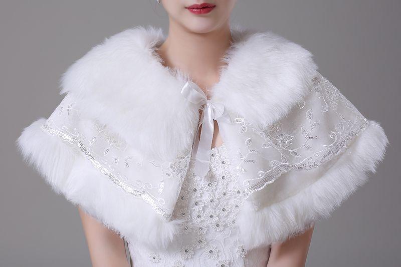 Jane Vini Winter Elegant Ladies Faux Fur Wraps For Wedding Evening Dresses Lace Up Bride Shawls With Sequins Stole Coat Cloak Women White
