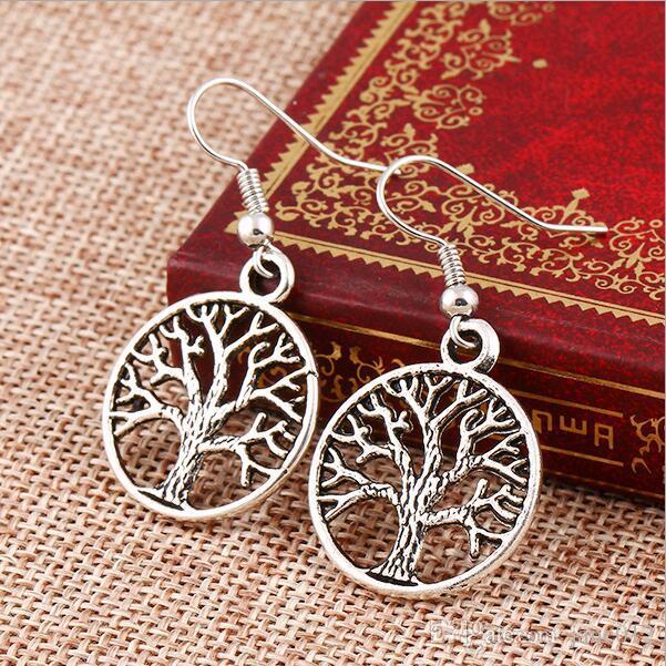 Pendiente de gota de joyería de plata antigua bohemia en venta Arbol de la vida Ganchos para la oreja Cuelga los pendientes de araña