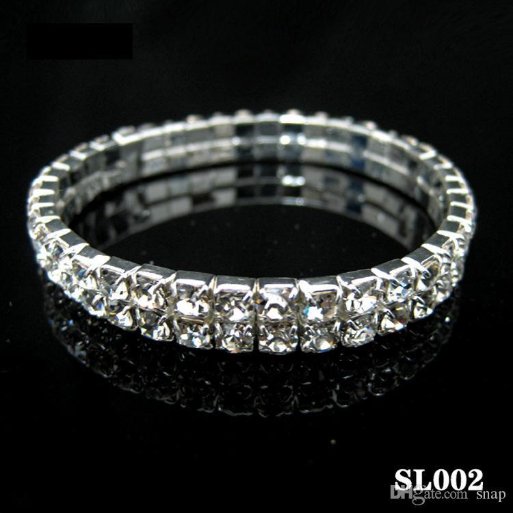 En gros de mode 1-10 rangée Strass Brillant Élastique Dame Bracelet Stretch Cristal Bracelet Bracelet Fit Party De Mariage Mariée Bijoux Cadeau