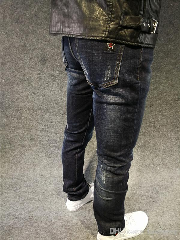 2017 skinny jeans menindigo small embroidery star distressed jeans trousers for men