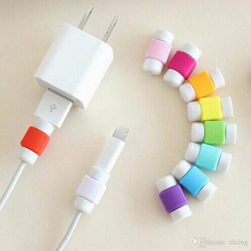 Cavo di dati / lotto di modo USB Protector colorato la protezione della copertura auricolare cavo Iphone Android cellulare parte fredda