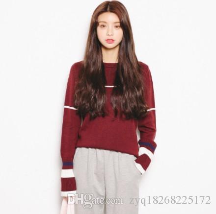 97a6b675c Compre 2019 Outono E Inverno Novas Mulheres Coreano Cor Hit Hit Camisola De Mangas  Compridas Moda Jovem Roupas Femininas De Zyq18268225172