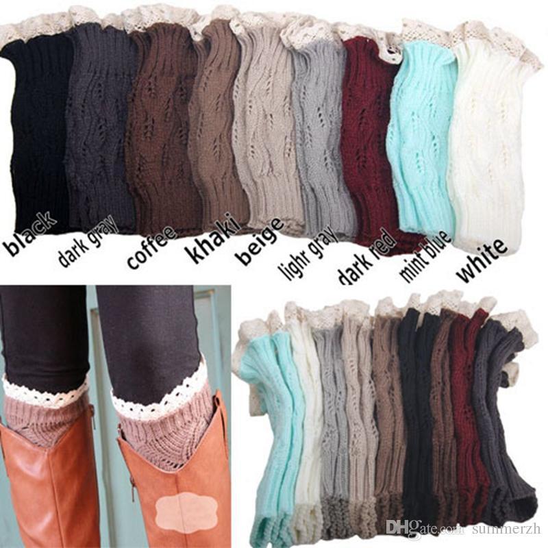 9 Cor Mulheres Crochet Rendas Algemas de Inicialização de Malha Perna de Malha Waret Lace Bota Manguito Aquecedores de Perna de Natal Meias de Inicialização Cobre