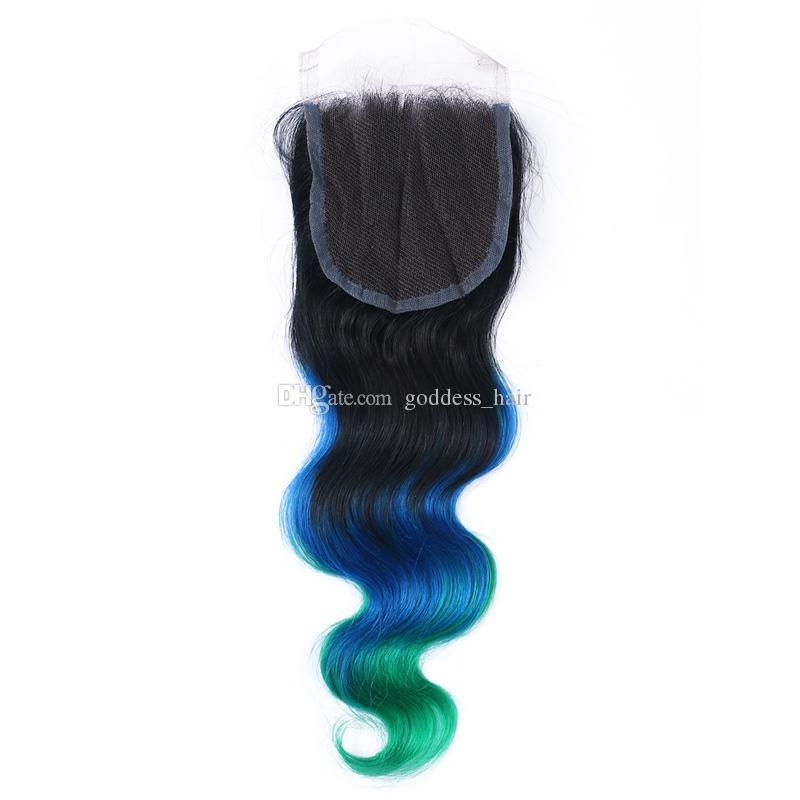 Recién llegado de 3 tonos de encaje con paquetes de pelo # 1B / azul / verde brasileño 9A Ombre de pelo humano con cierre de encaje / lote