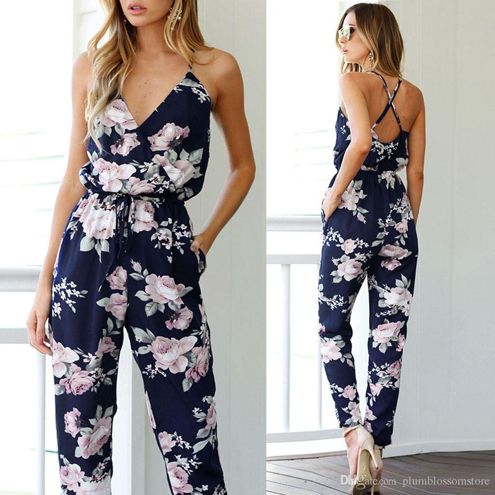 2019 Summer Women Sexy Backless Long Jumpsuits Sleeveless V Neck Floral  Printed Bohemian Beach Playsuit Party Trousers Macacao Combinaison Femme  From ... 405bbbf399d8