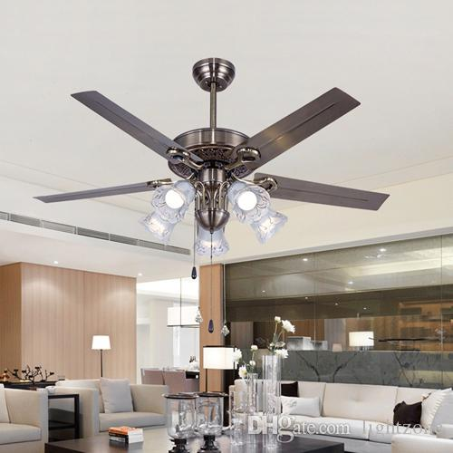 LED Ceiling Fans 48 110V 240V American European Retro Ceiling Fans Lights  Iron Blade For Restaurant Sitting Room Living Room Study Rooom Iron Blades  Led ...