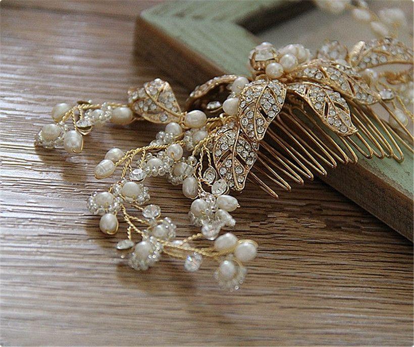 Wedding Prom Bridal Bridesmaid Comb Hair Accessories Gold Crystal Rhinestone Pearl Princess Flower Jewelry Headpieces Headband Crown Tiara