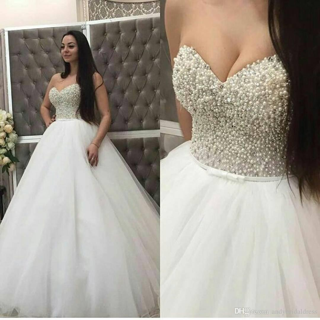 Sparkly Ball Gown Corset Wedding Dress Pearls Sweetheart: Ball Gown Pearls Bling Wedding Dress Bridal Gown