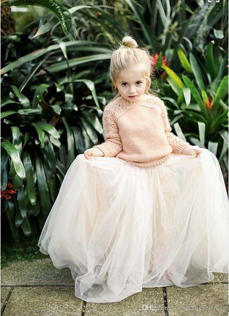 2016 Lovely Baby Girls Tulle Skirts White Princess Tutu Ball Gown Flower Girl Party Dresses For Skirt Wedding Cheap Children's Long Skirts