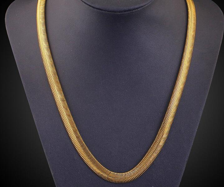 """6 mm*20"""" flat Snake chain 18k gold plated necklace fashion personality sautoir Man/woman gold couples necklace 2pcs/lot retail"""