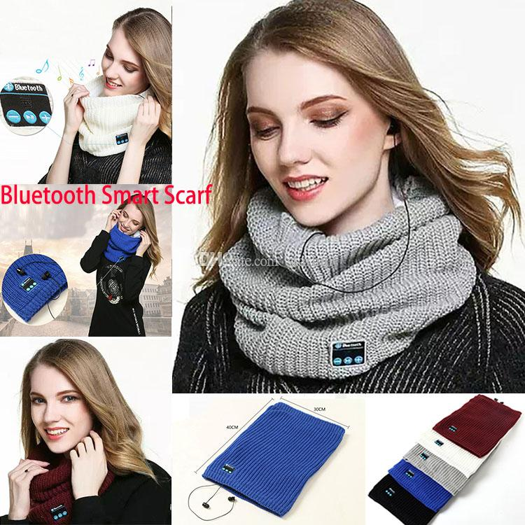 Hot Bluetooth Smart Scarf Wireless Bluetooth Scarf Music Knitted Scarf collar Headset Headphone Speaker Mic for phone Headphone WX-S08