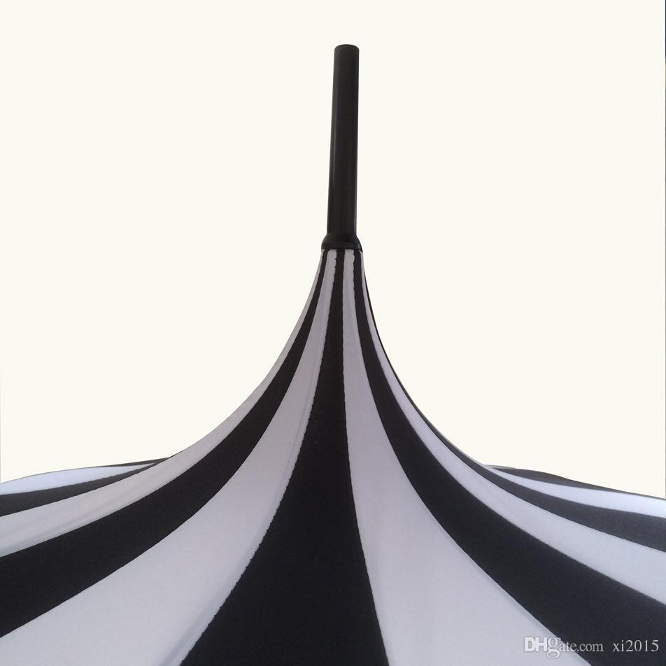 10 teile / los Kreatives Design Schwarz Und Weiß Gestreiften Golfschirm langstieligen Gerade Pagode Regenschirm