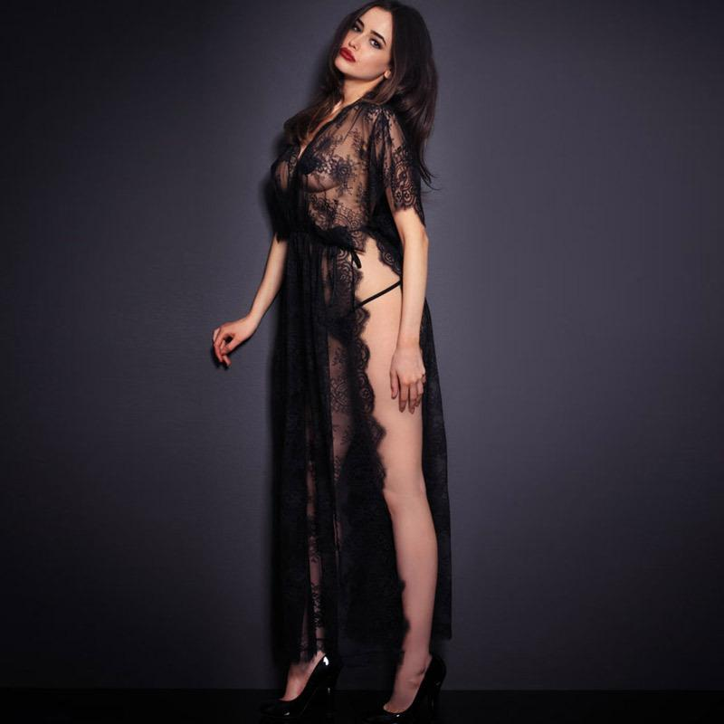 aa073ab35fc 2019 Sexy Sleepwear Lingerie Hot Gown Long Dress Black Sheer Lace Kaftan  Robe With Thong Night Clubwear From Cwq10