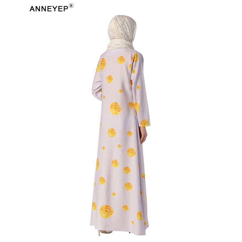 Çin elemanları ile 2016 Yeni stil zarif müslüman elbise baskı çiçek elbise ile dubai türk abaya