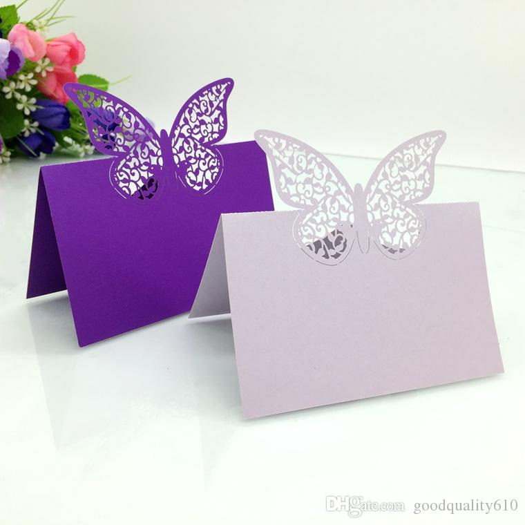Laser Cut Hollow Butterfly Paper Table Card Number Name Place Card For Party Wedding Decorate Customization