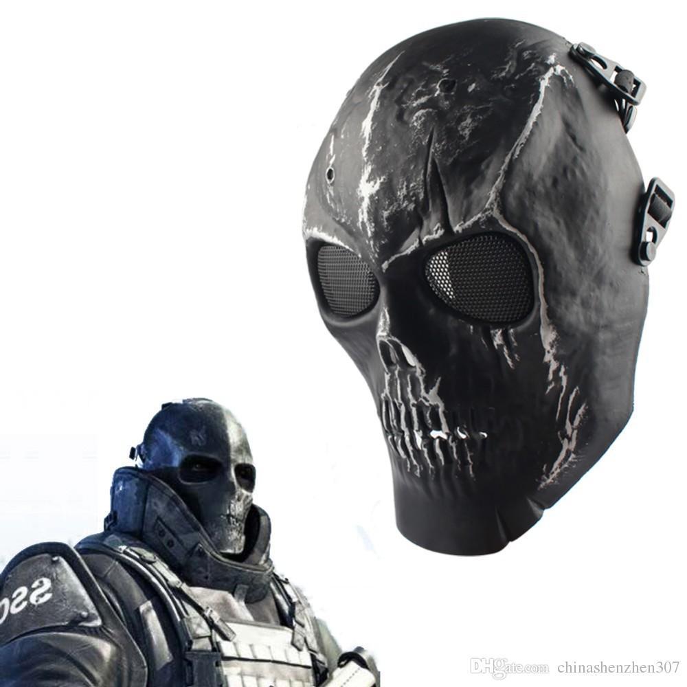 2016 Army Mesh Full Face Mask Skull Skeleton Airsoft Paintball BB Gun Game proteggere la maschera di sicurezza