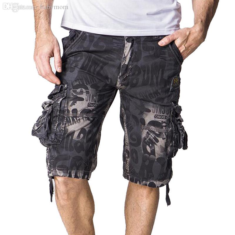 30a119ddee62 2019 Wholesale 2016 Summer Mens Surf Cargo Shorts Calf Length Multi Pocket  Camouflage Tactical Shorts Plus Size 29 42 Men Cargo Capris Q2094 From  Babymom