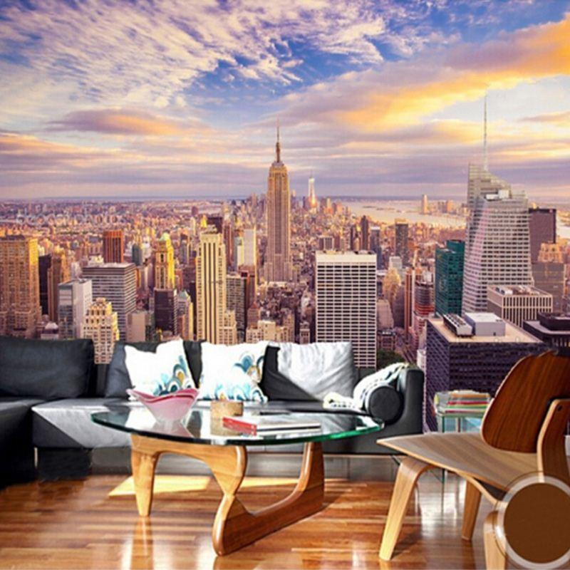 Custom Photo Wall Paper New York City Sunshine Skyline 3d Murals ...