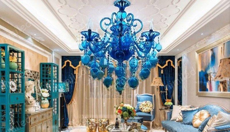 nimi1124 Lampadario di cristallo viola blu luci di cristallo Bar Cafe KTV Light Hotel Ville soggiorno Lampade a sospensione in vetro candela candela illuminazione