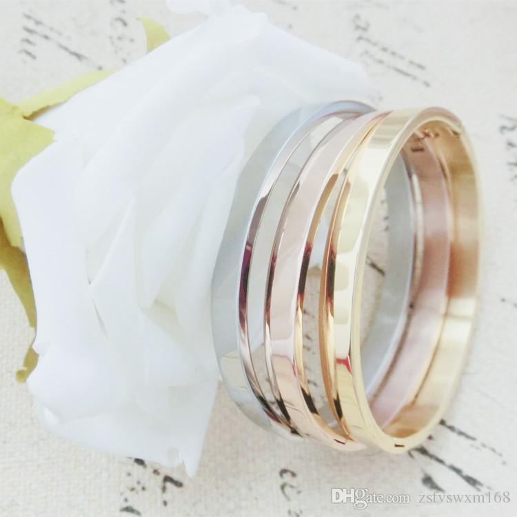 الأزواج روز سوار الذهب اللامع سوار التيتانيوم الصلب ثلاث لوحات لا تتلاشى ثلاثة ألوان