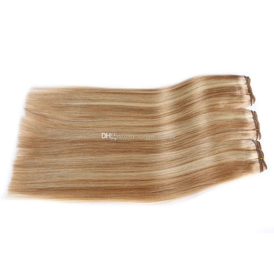 Piano peruano Color mezclado Recto Paquetes de armadura de cabello humano 3 Unids Pelo de boda Piano # 8 613 Resaltar Extensiones Ombre de Cabello Humano Dos Tonos