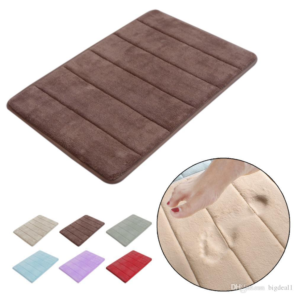 stylish design coral foam nonslip back rug soft bathroom carpet memory foam bath mat - Bathroom Carpet