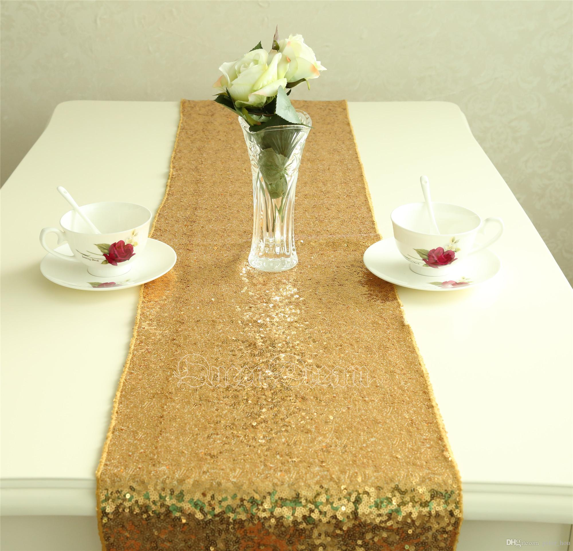 Inch Cheap Gold Sequin Table Runners For Wedding Glitter