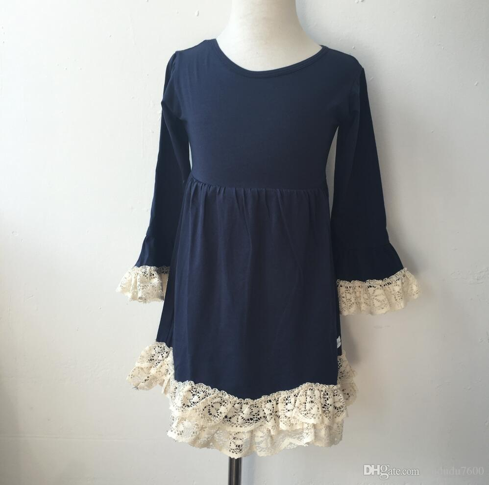 fashion fall crochet knitted lace clothing baby girls dress children navy long sleeve lace dress apparel cheap wholesale