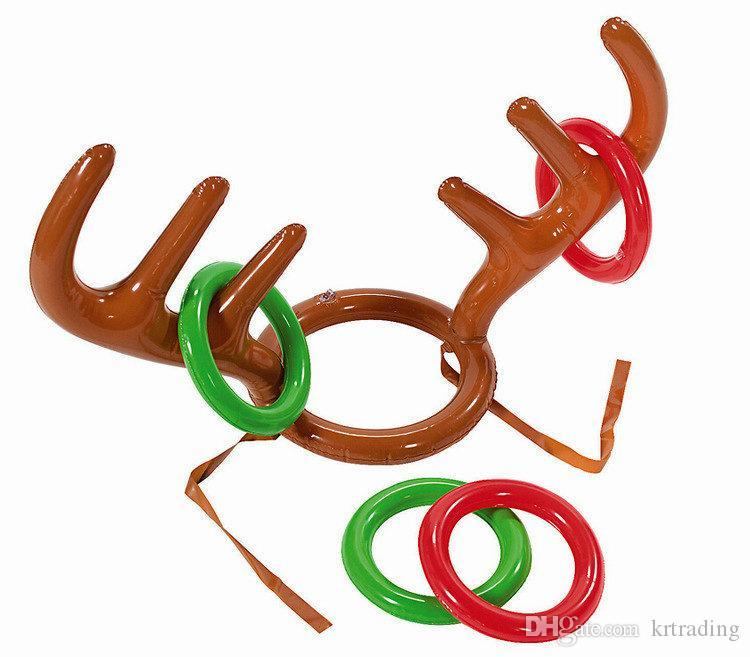 Spiele Für Weihnachtsfeier.Lustige Elch Horn Aufblasbare Ring Werfen Spielzeug Hirschgeweih Ferrule Spiel Strand Pool Spielzeug Für Spiele Im Freien Weihnachtsfeier Requisiten