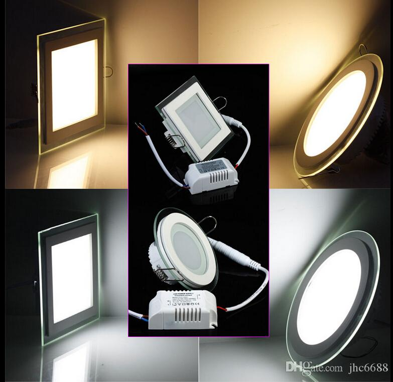 9w 15w 18w Glasses Led Square Round Panel Recessed Wall Ceiling