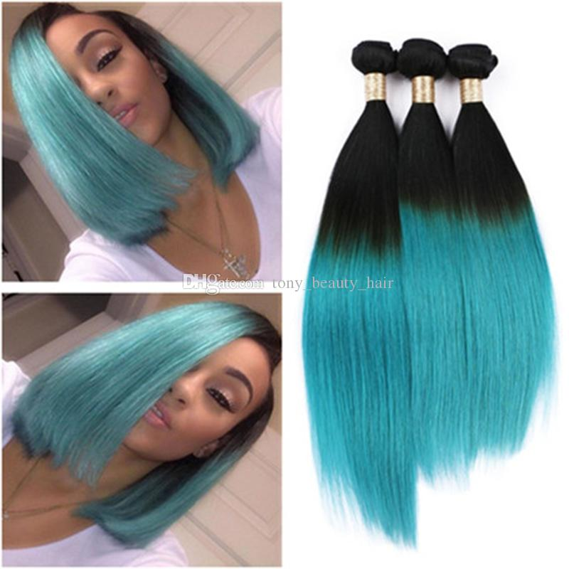New Fashional Two Tone Color 1bgreen Ombre Hair Extensions Peruvian