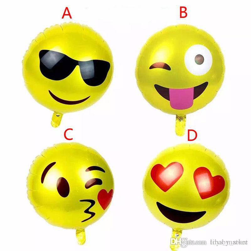 4 Design Emoji Balloons New 18inch Aluminum Film Balloon Smile Face For Birthday Party Cartoon Halloween