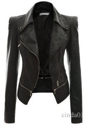 Neue Coole Frauen Lederjacke Niet Reißverschluss Motorrad Jacke Umlegekragen chaquetas mujer Argyle muster Ledermäntel