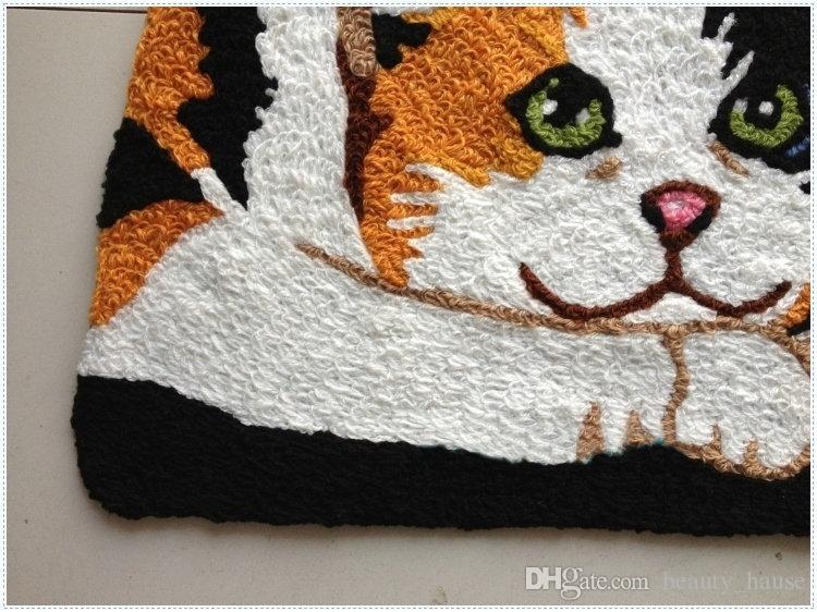 Casa Porta Mats bonito Quarto dos desenhos animados do gato Tapete das crianças das crianças Capacho 80x60 cm clássico animal Suede Banho presente Carpet