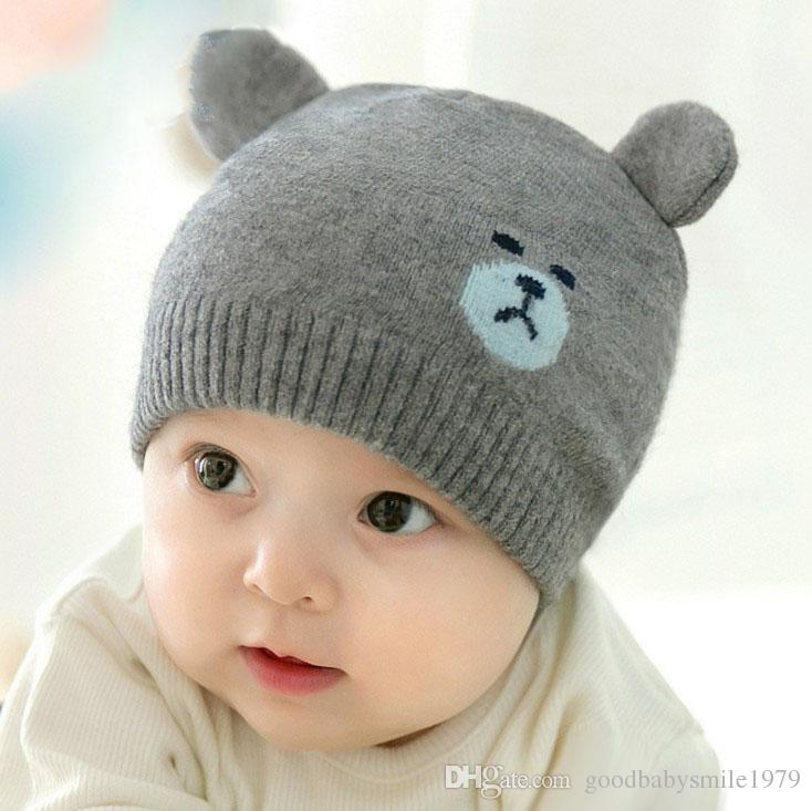 5ecacdee9f51c Korea Winter Baby Bear Knitted Hat Infant Cartoon Caps Toddler Outdoor  Warmth Hats Baby Girls Boys Beanie Cute Baby Bear Ear Beanies Baby Knitted  Hat Online ...
