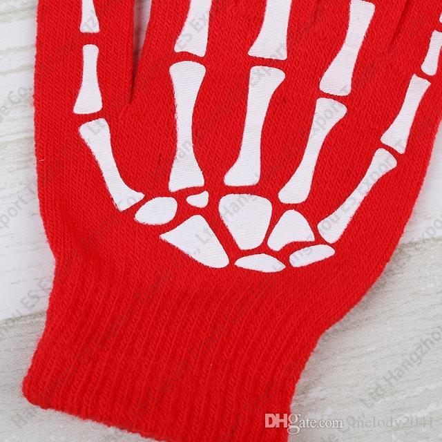 Pure Colours Hand Bone Fingers Guanti Touch Screen Guanti Fashionable Winter Anti-freeze Uomo E Donna i Warm Guanti