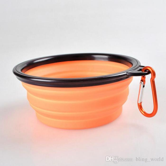 Pliable Chien Bols Silicone Chiot Bol Portable Pet Bols d'alimentation avec Escalade Boucle Chien Fournitures 8 Couleurs YW134