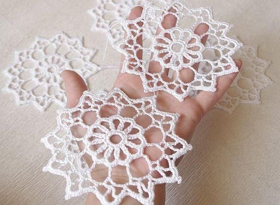 Crochê flocos de neve enfeites de Natal, enfeites de árvore de Natal, 100% Algodão enfeite Para Casa, Handmade branco flocos de neve sd5